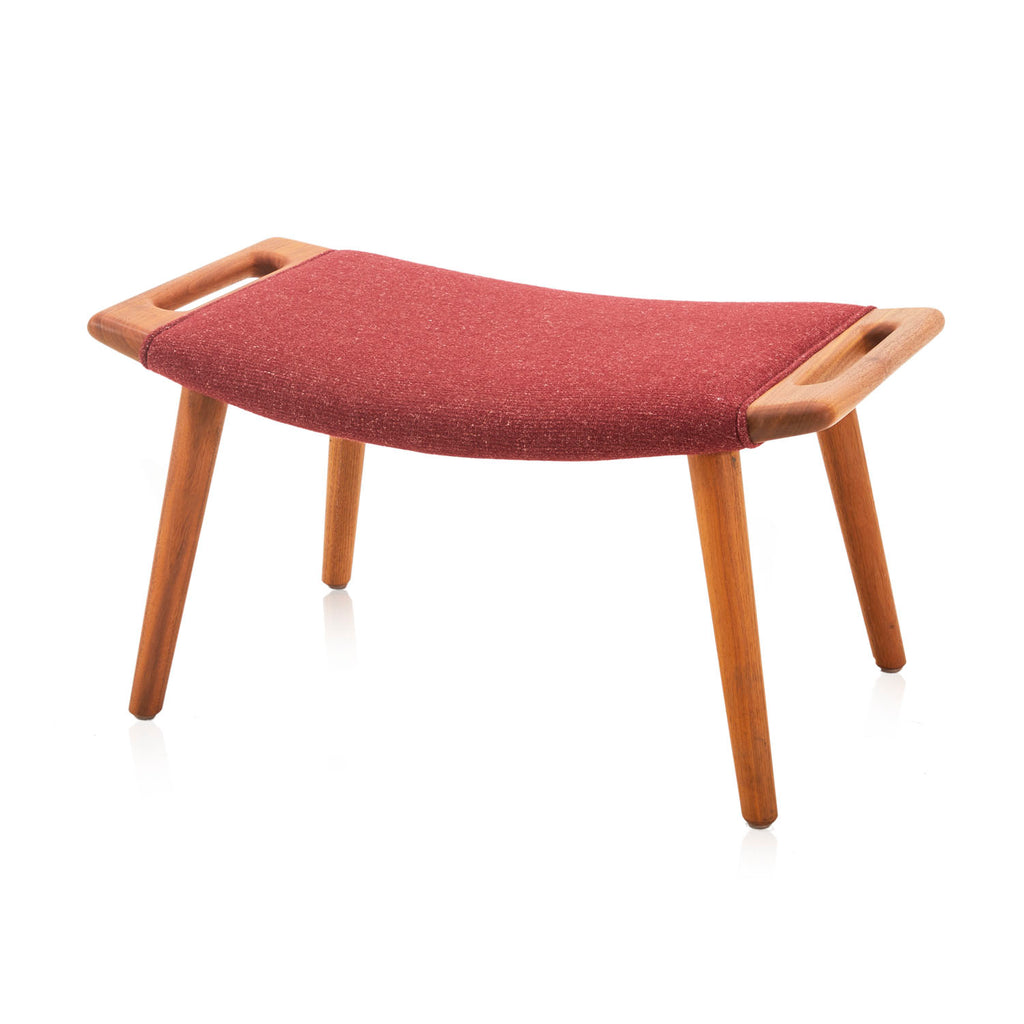 Red Wool and Wood Ottoman