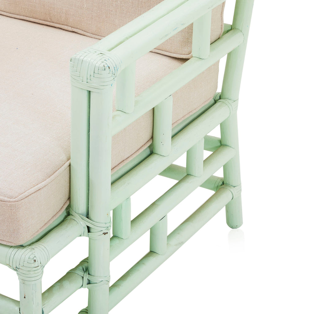 Mint Green Bamboo Arm Chair