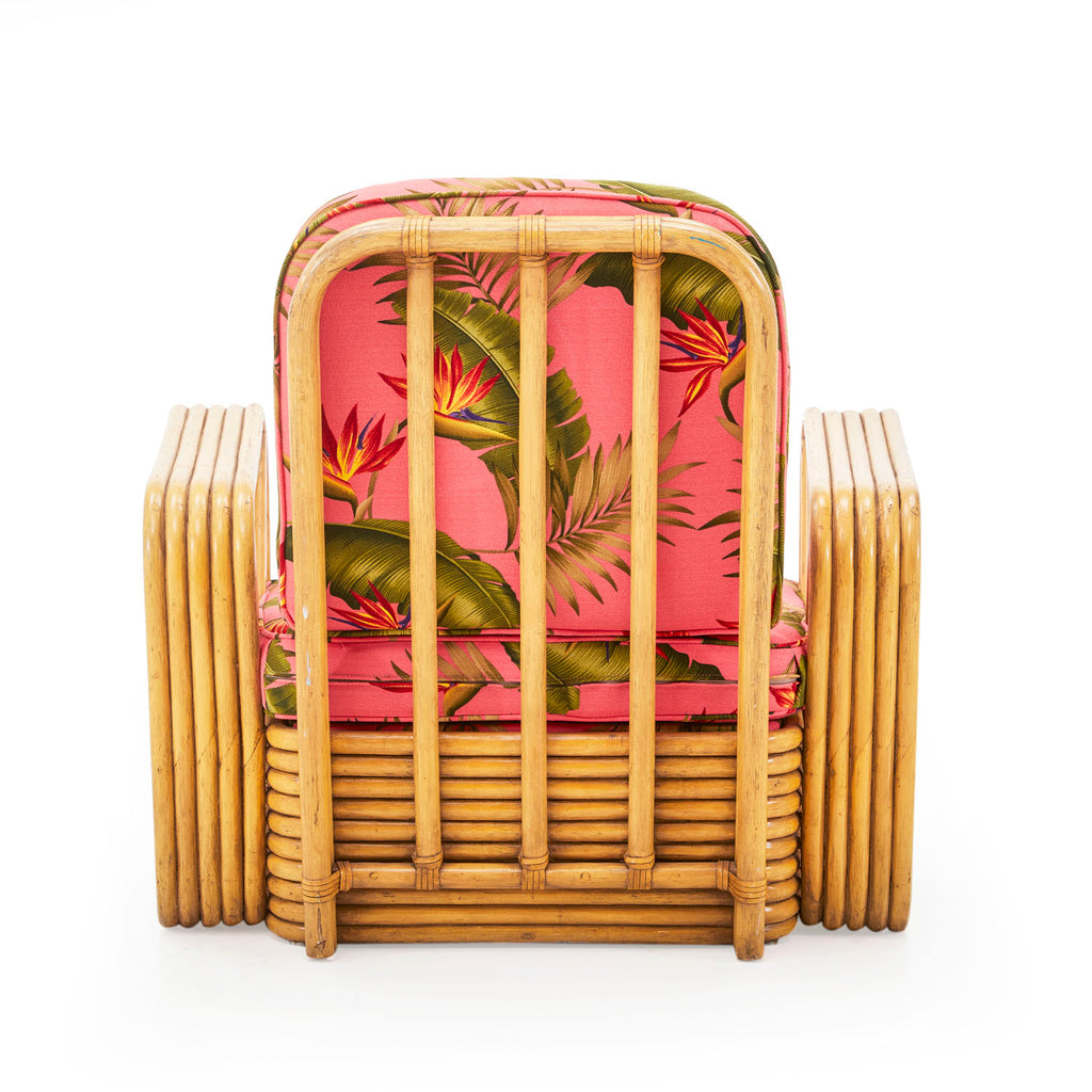 Rattan Arm Chair With Pink Floral Cushions