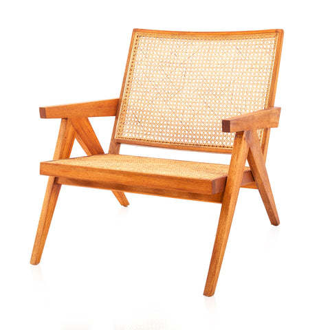 Jeanneret Wood and Cane Lounge Chair