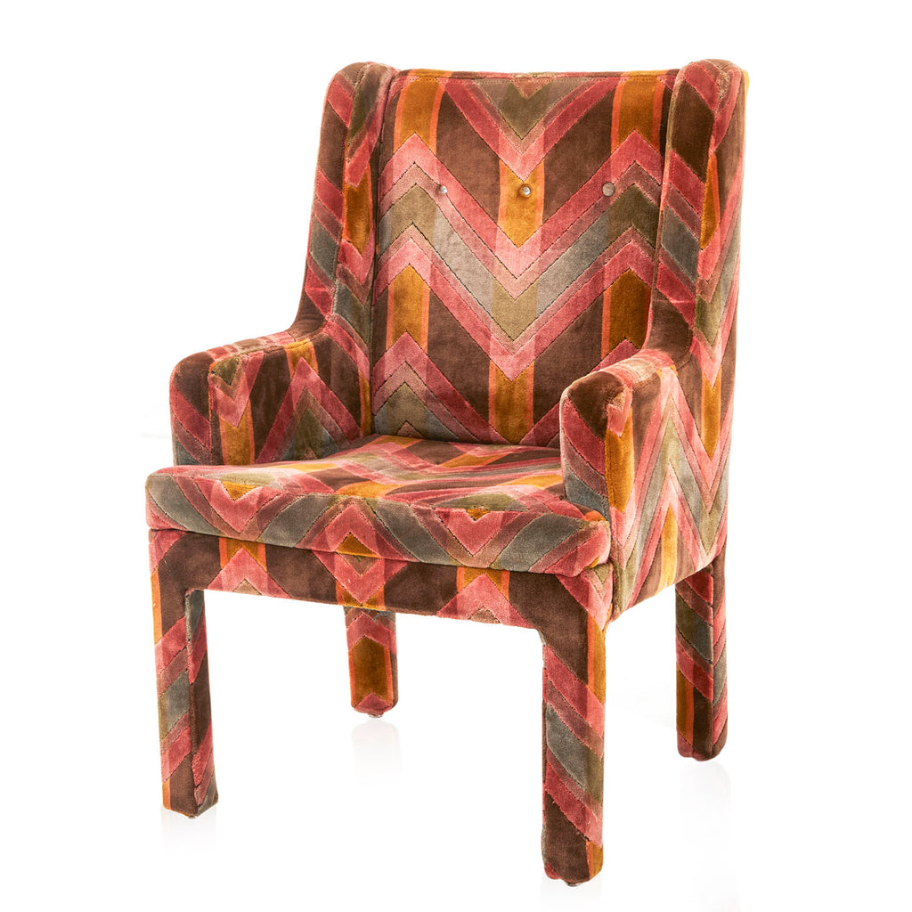 Multi-Colored Velvet Carpet Arm Chair