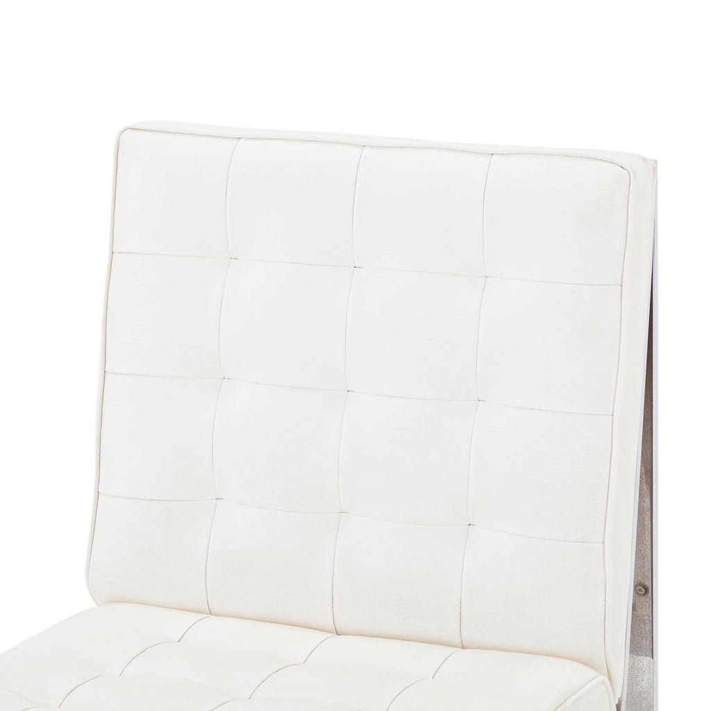 White Leather and Chrome Chair