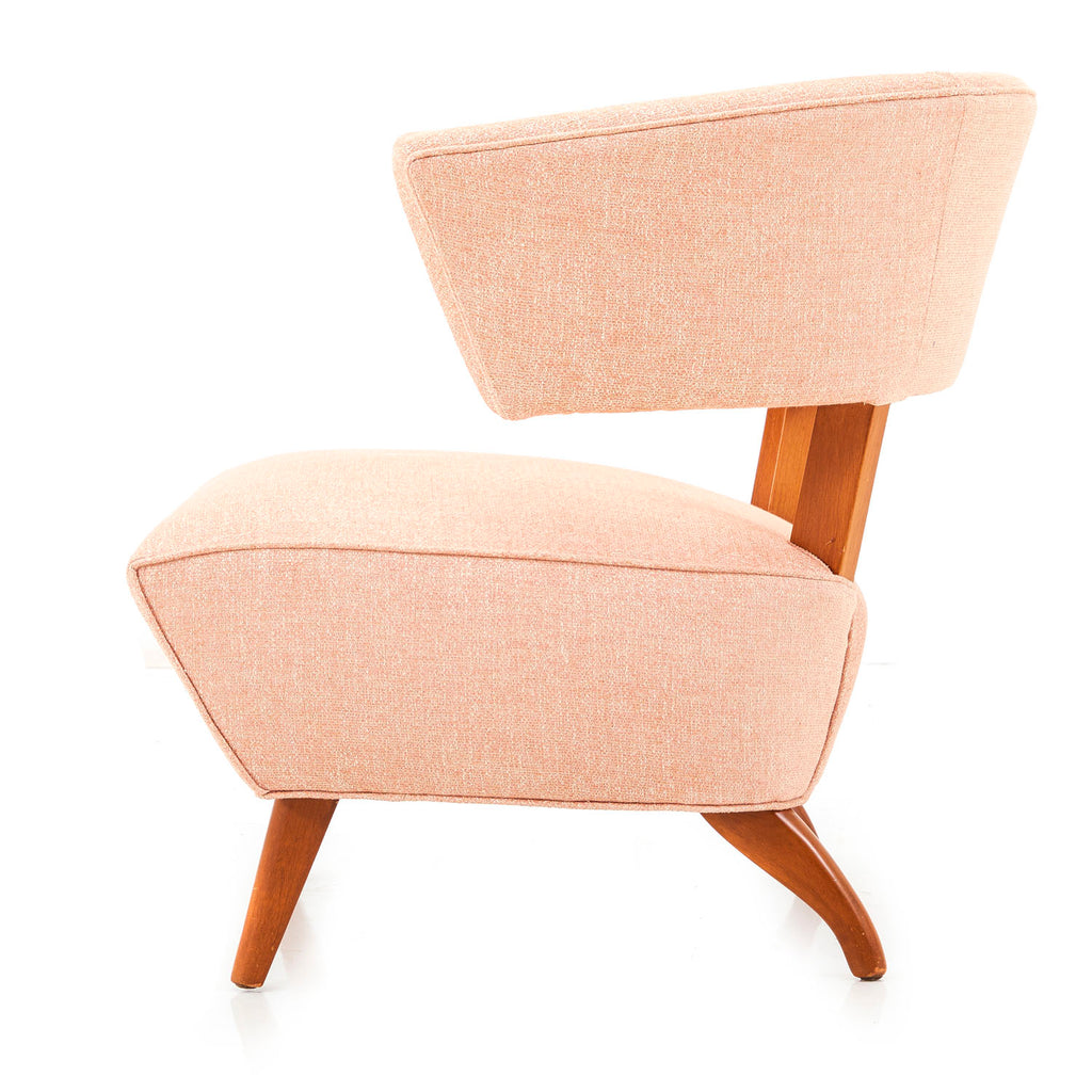 Pale Peach Upholstered Lounge Chair