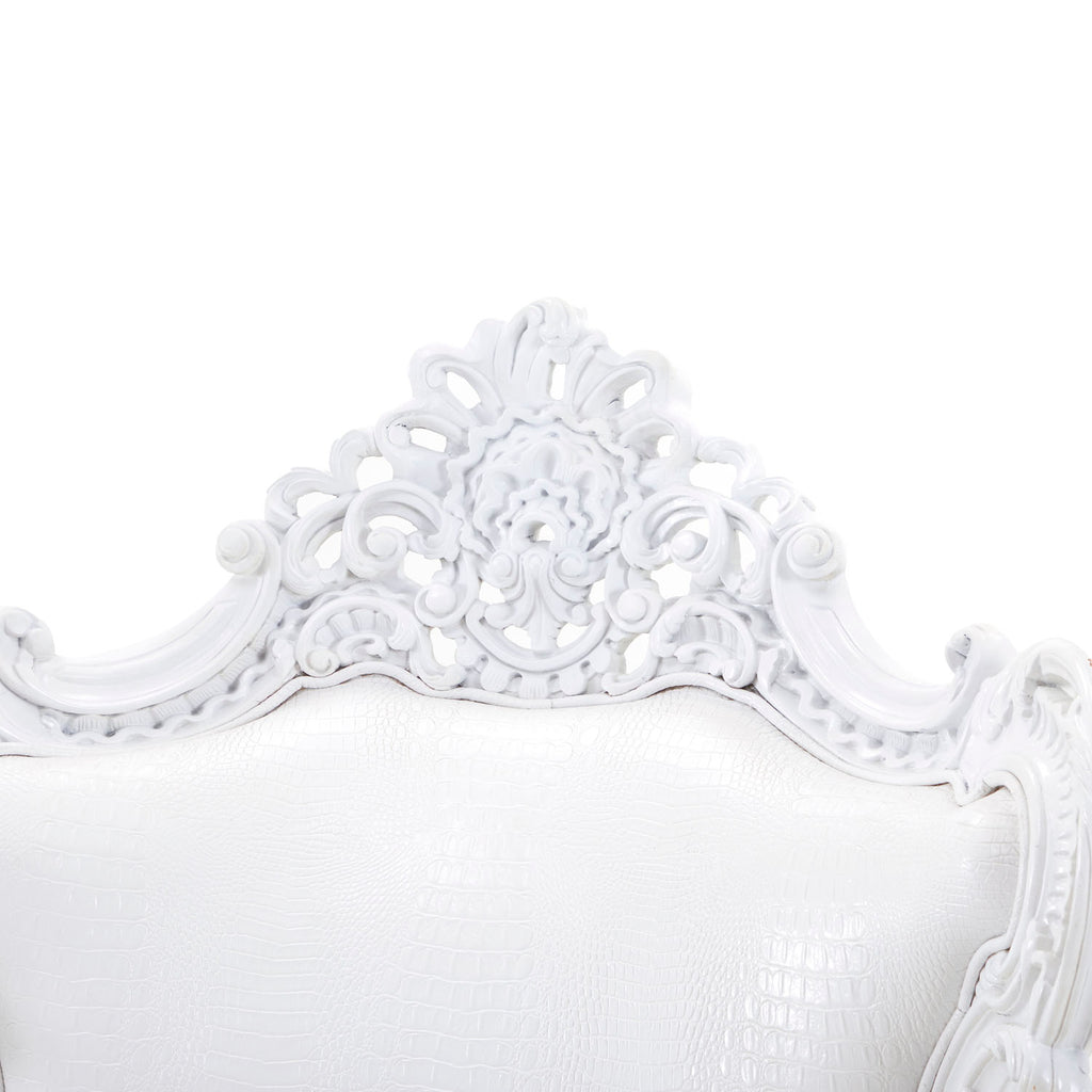 Baroque White Crocodile Arm Chair