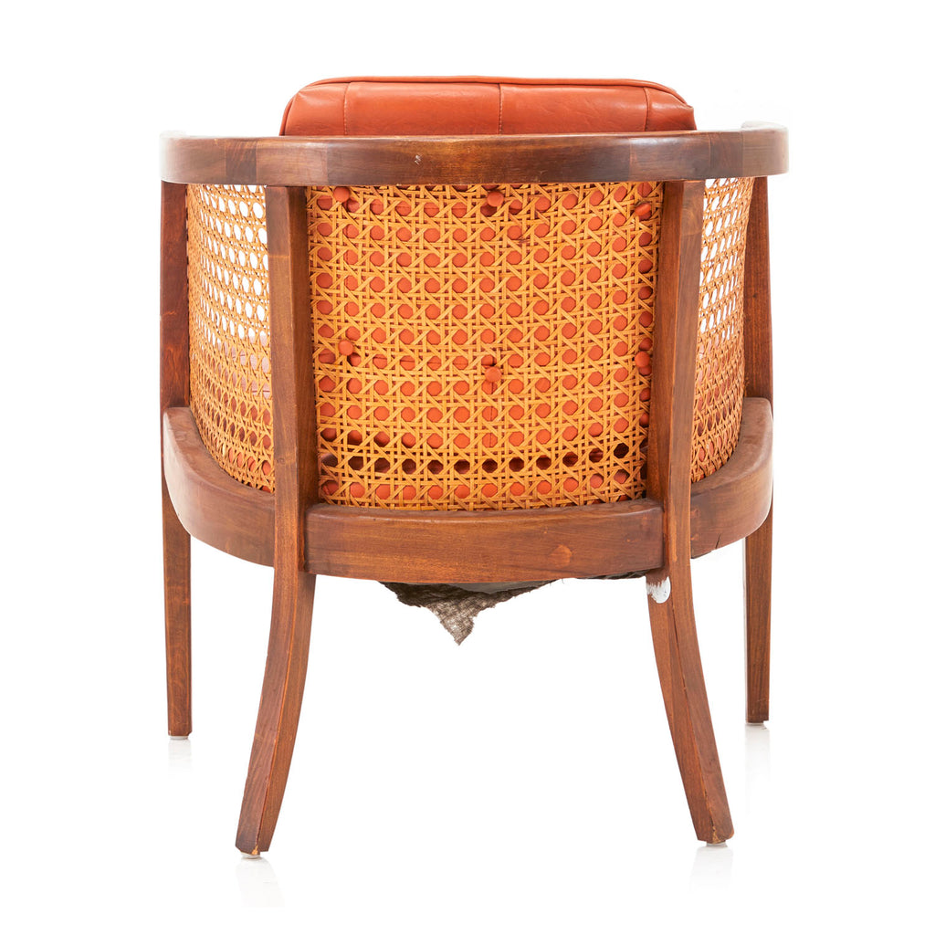Wicker Back Orange Leather Arm Chair