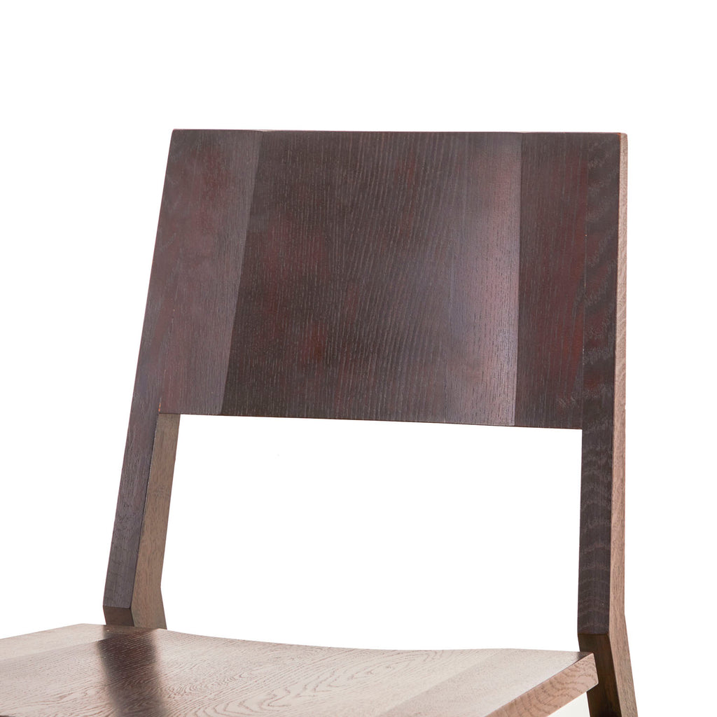 Contemporary Dark Wood Low Chair