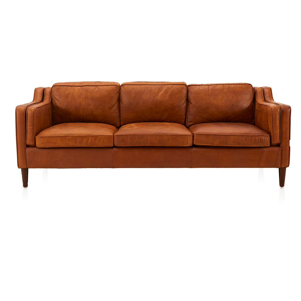 Mid-Century Brown Leather Sofa