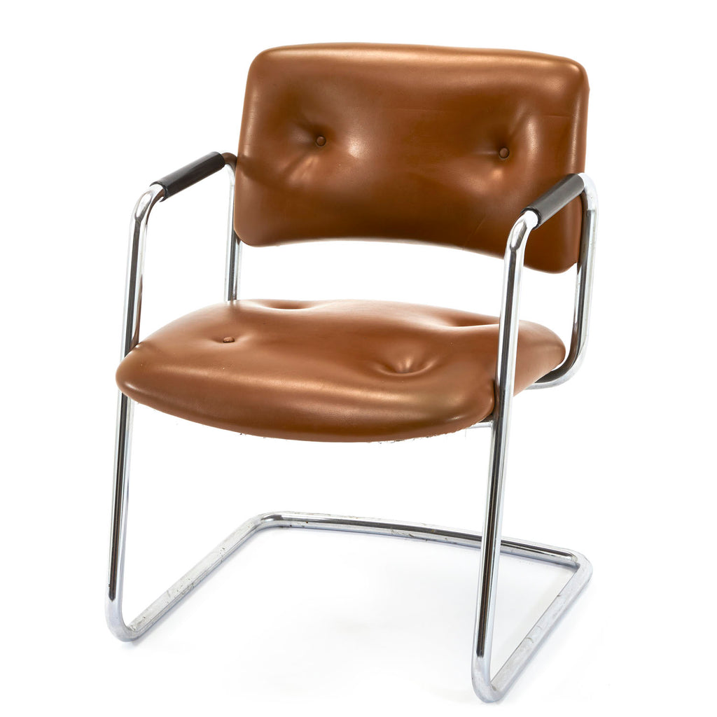 Brown Leather and Chrome Arm Chair