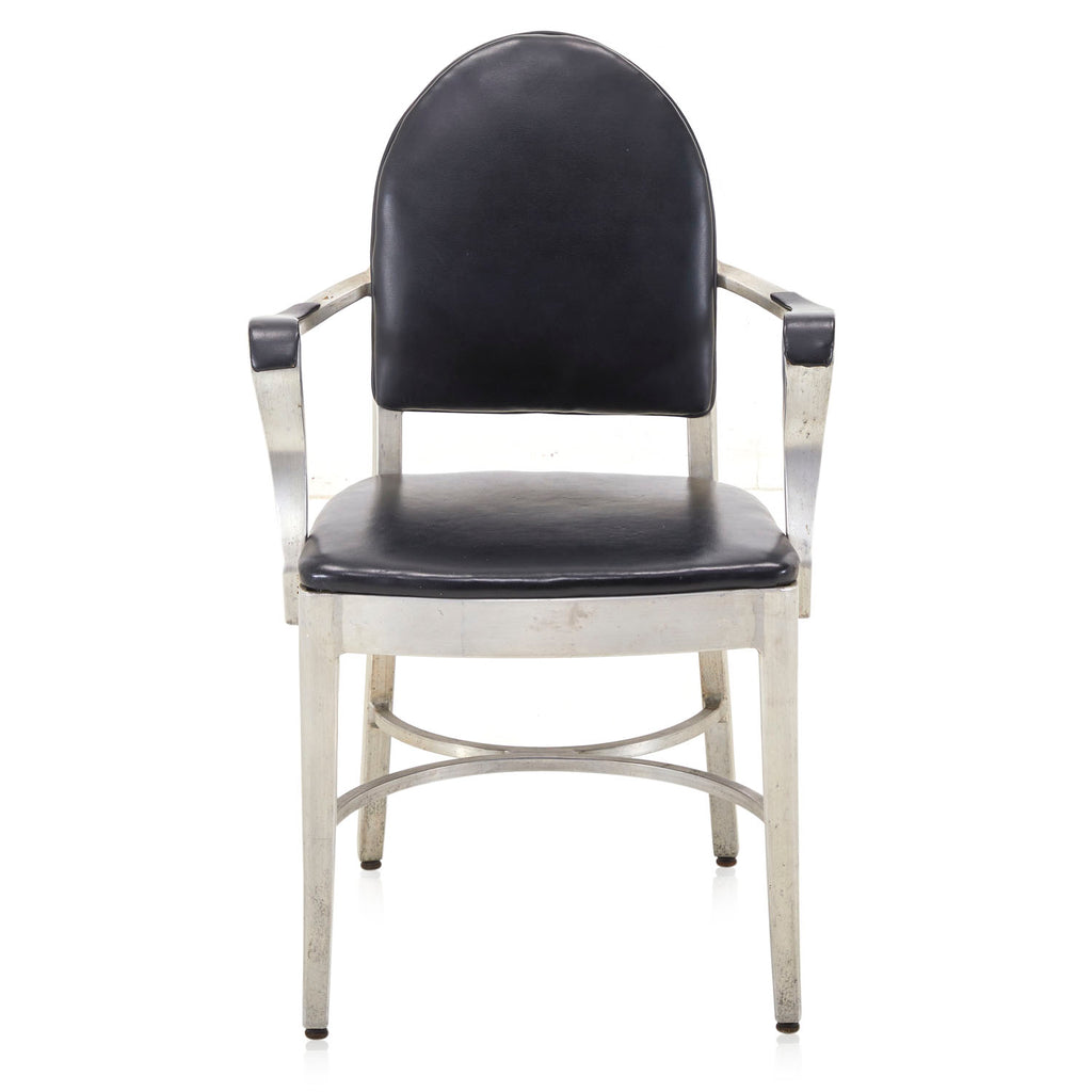 Black Leather Aluminum Arm Chair