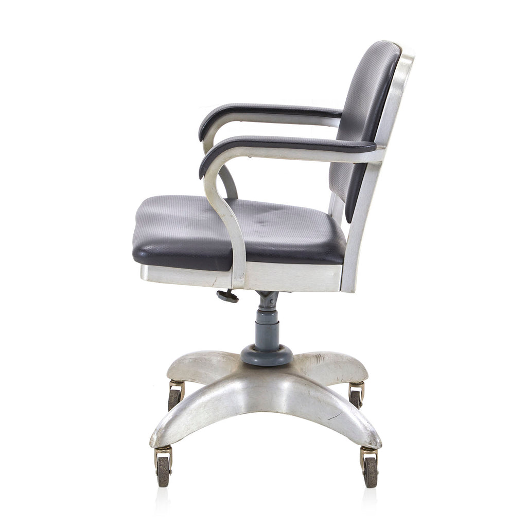 Black Leather Aluminum Office Chair