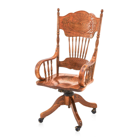 Antique Carved Wood Office Chair