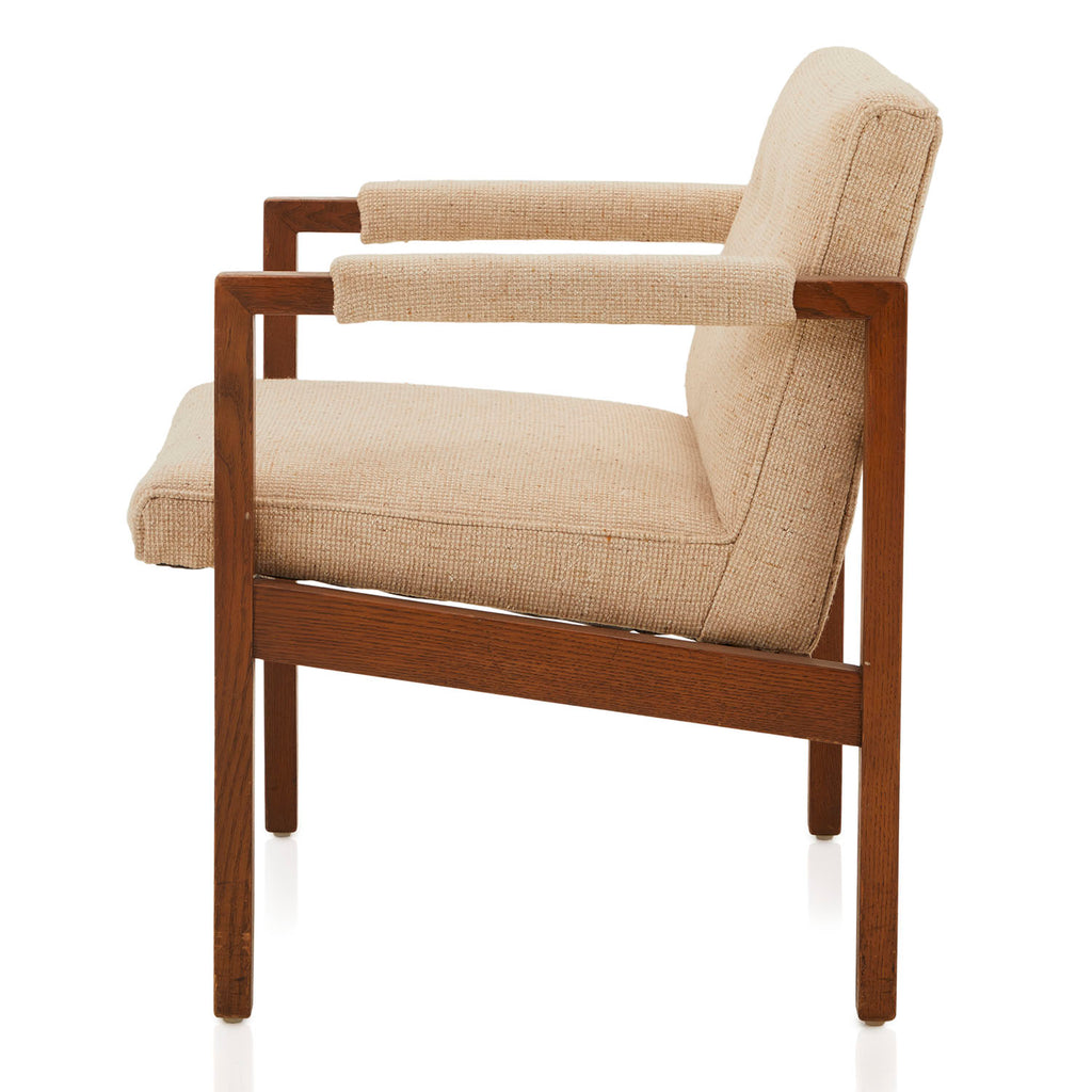 Mid-Century Modern Upholstered Beige Arm Chair