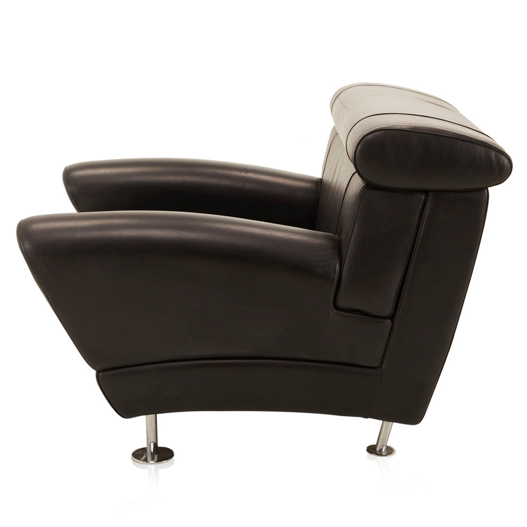 Wide Black Leather Sofa Chair