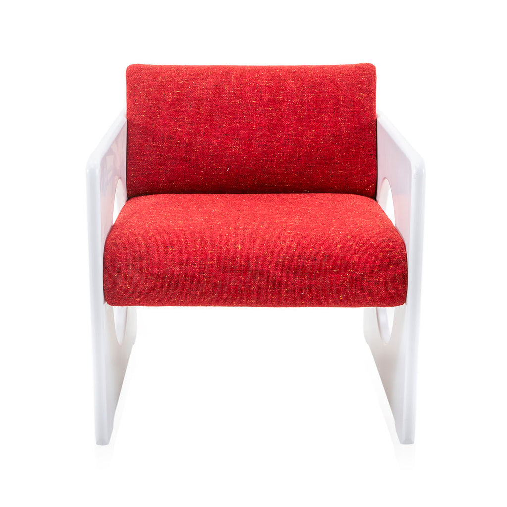 Formica Lounge Chair with Red Cushions