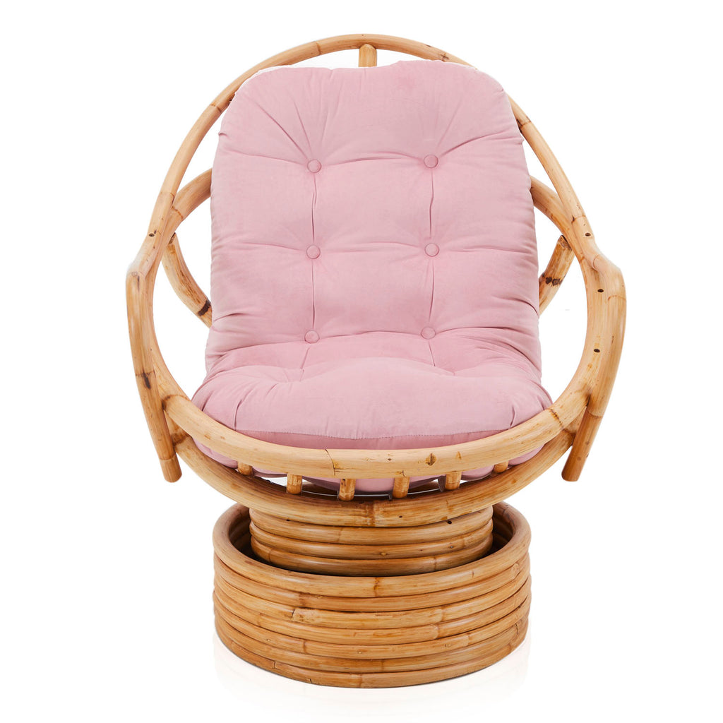 Rattan Pink Cushion Egg Chair