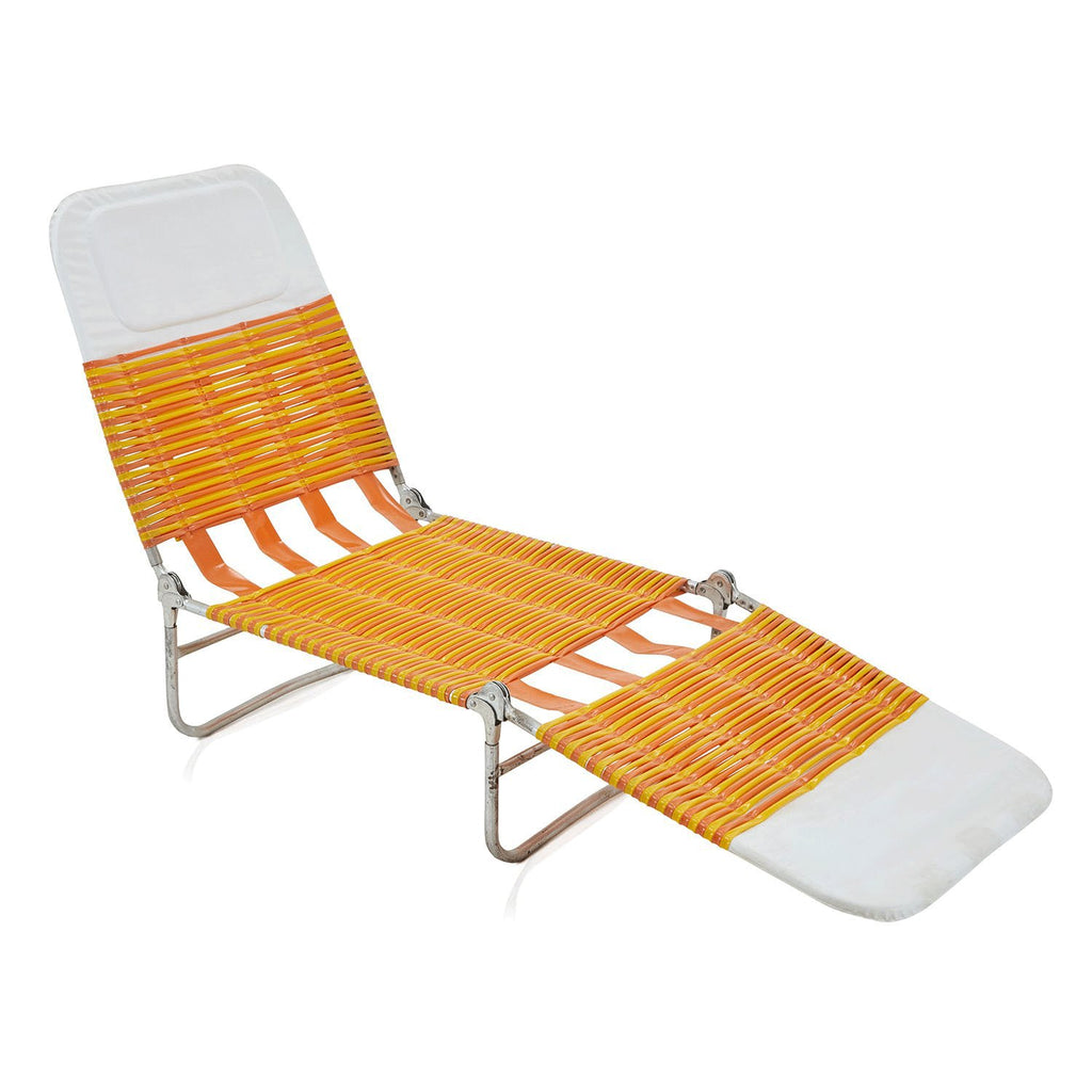 Orange and White Folding Lawn Lounge Chair