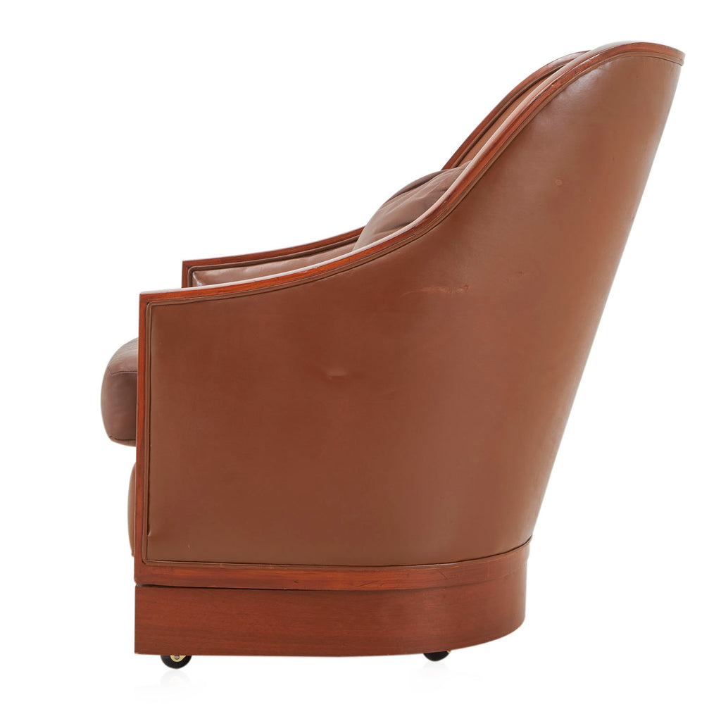 Brown Leather Wood Trim Sloped Armchair