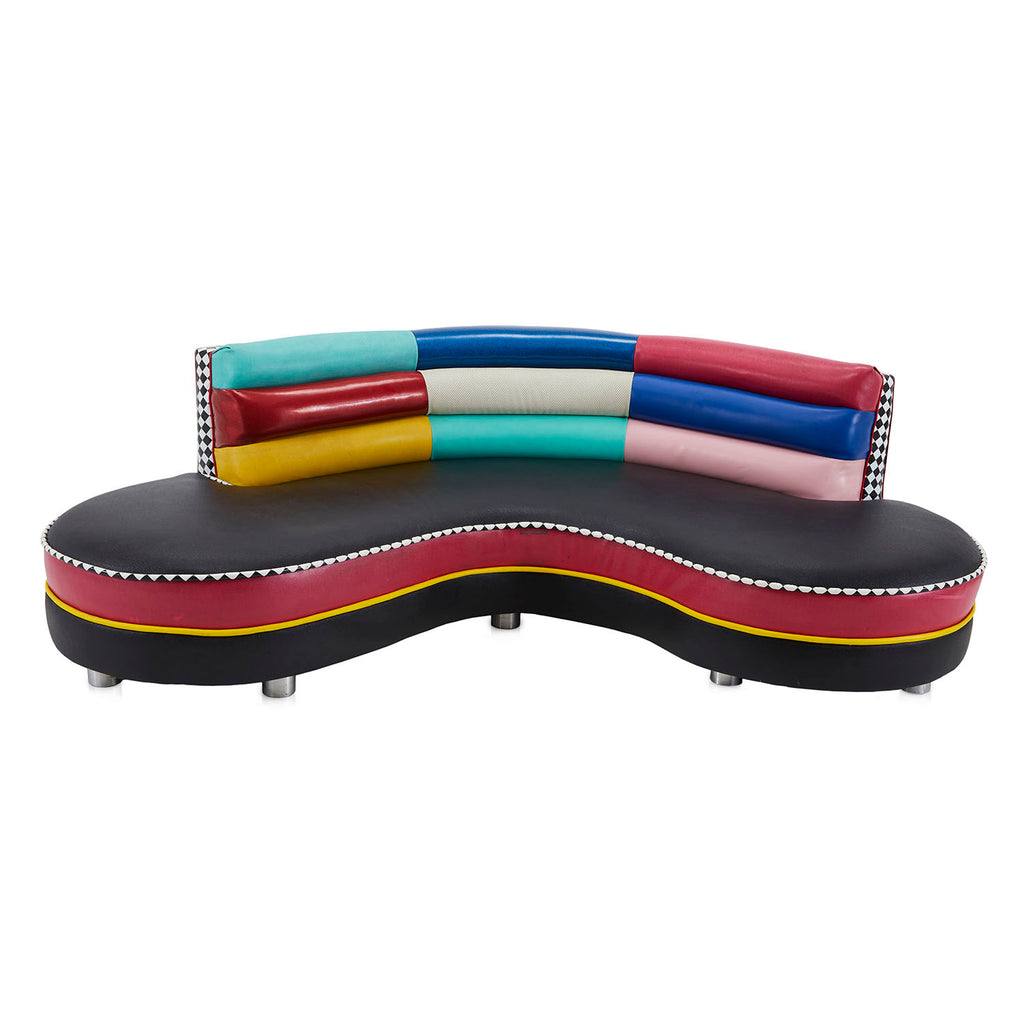 Colorful Memphis Style Curved Sofa and Ottoman Set