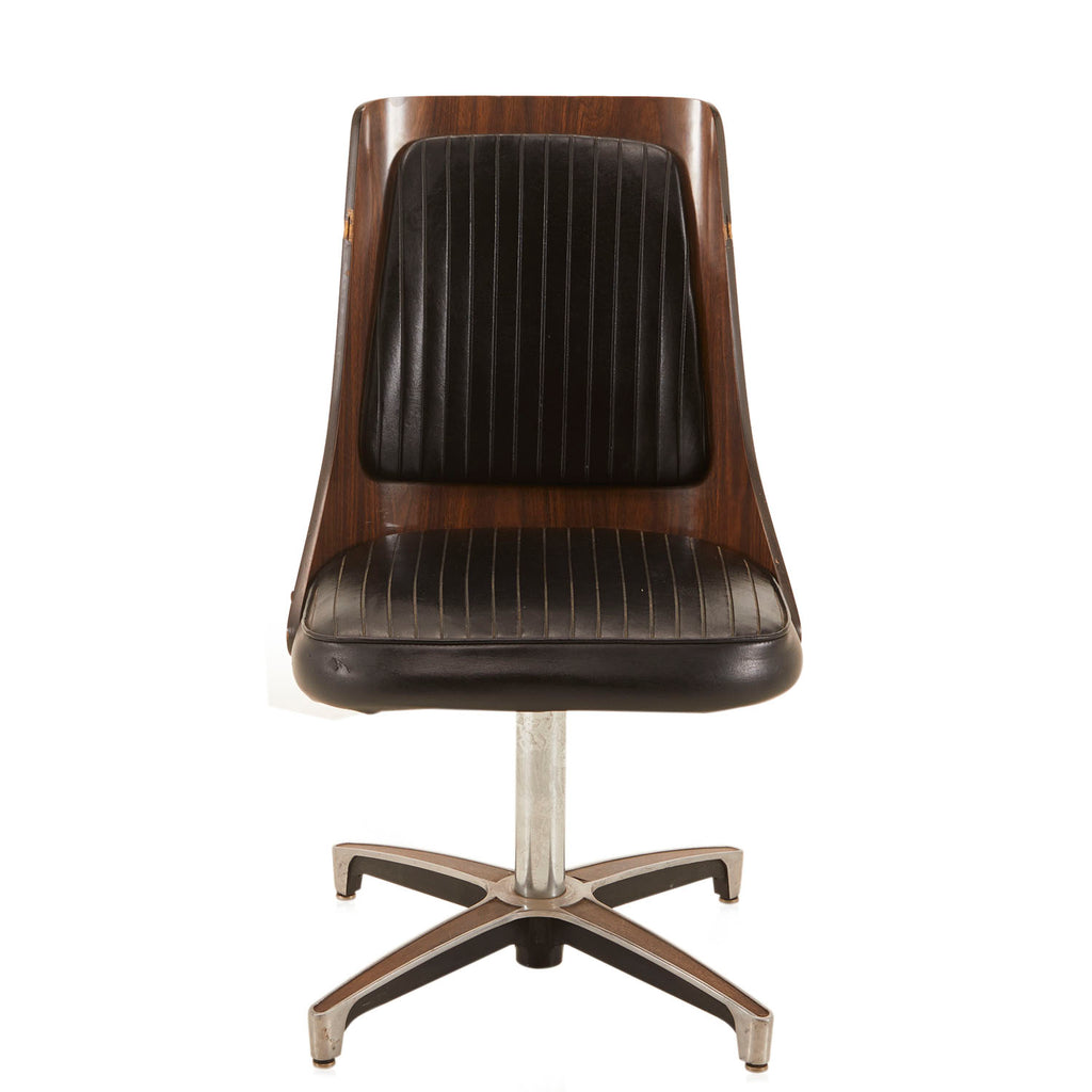 Black Leather Wooden Office Chair