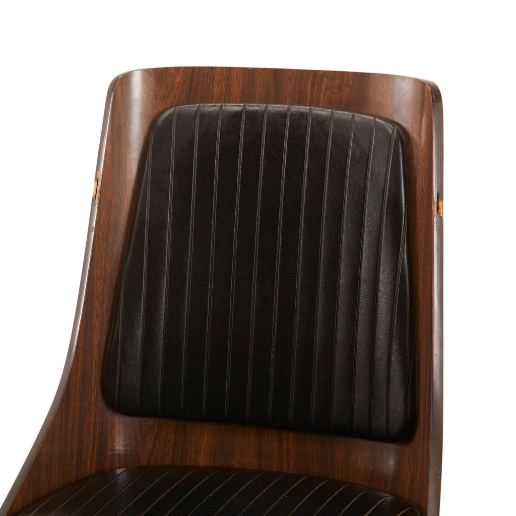Black Leather Padded Wood Chair