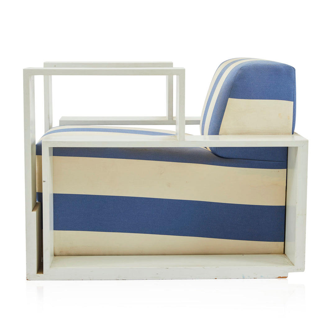 Wide Blue & White Striped Armchair