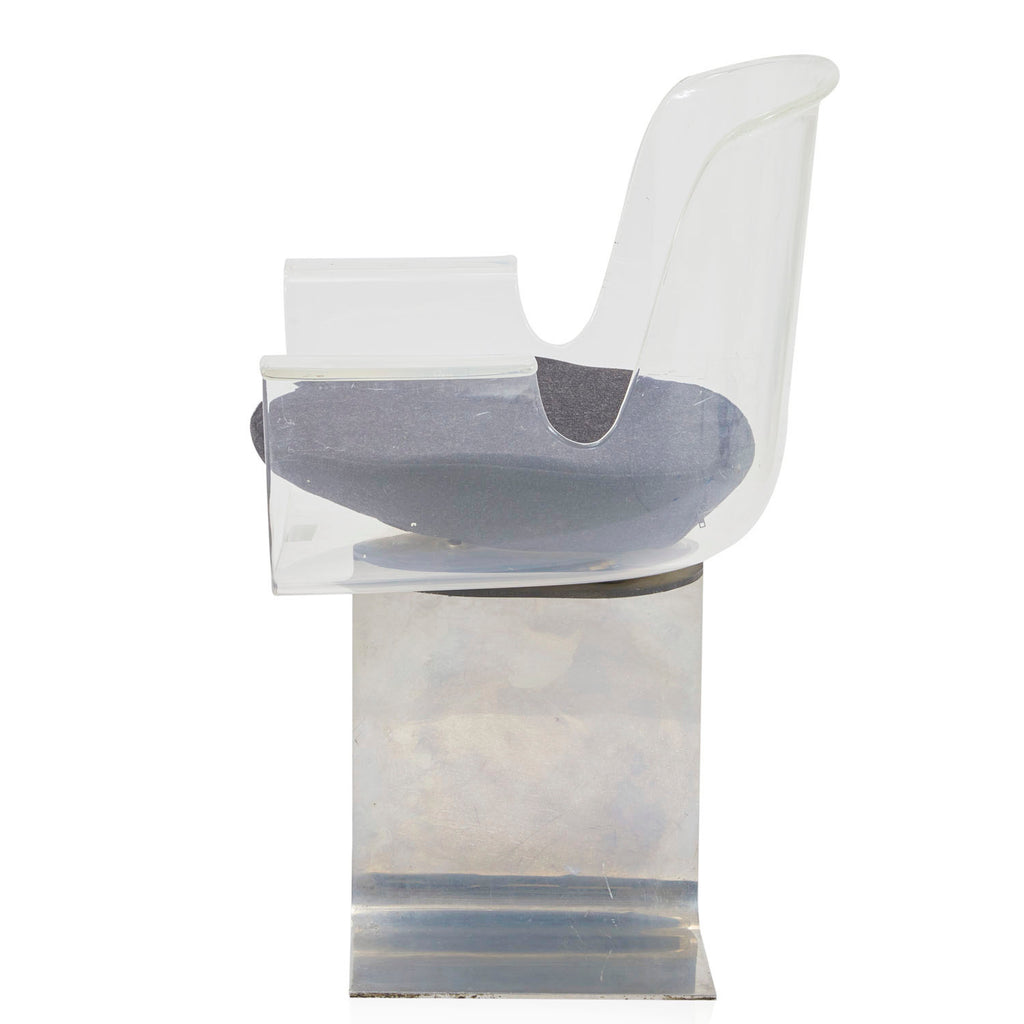Lucite Armchair with Chrome Stand