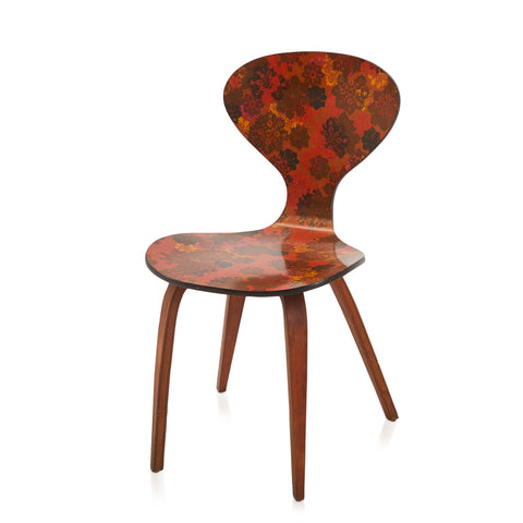 Autumn Leaf Print Mid Century Side Chair