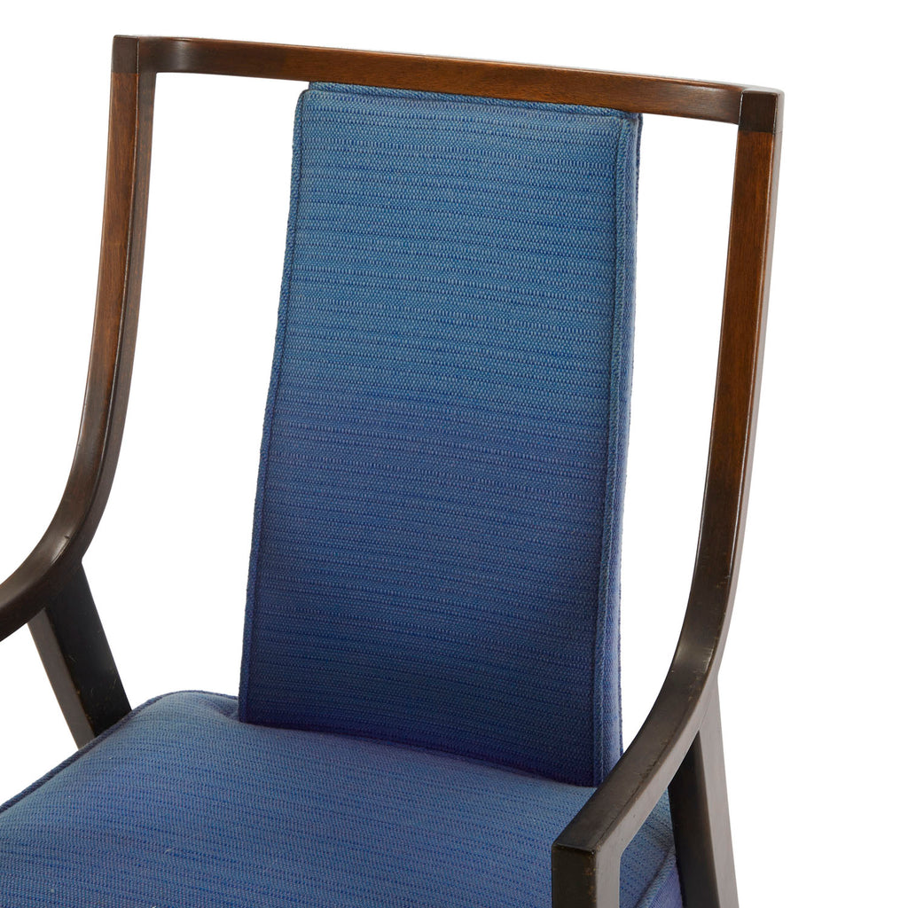 Blue Fabric Curved Mahogany Armchair