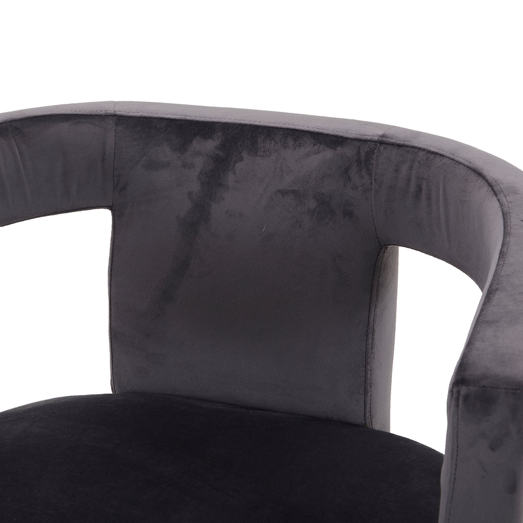 Slate Blue Grey Velvet Cutout Chair