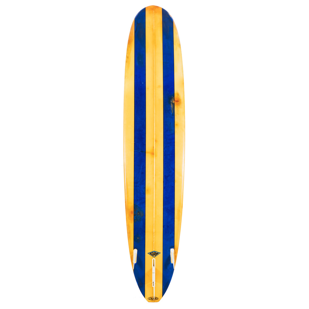 Blue and Yellow Striped Surfboard