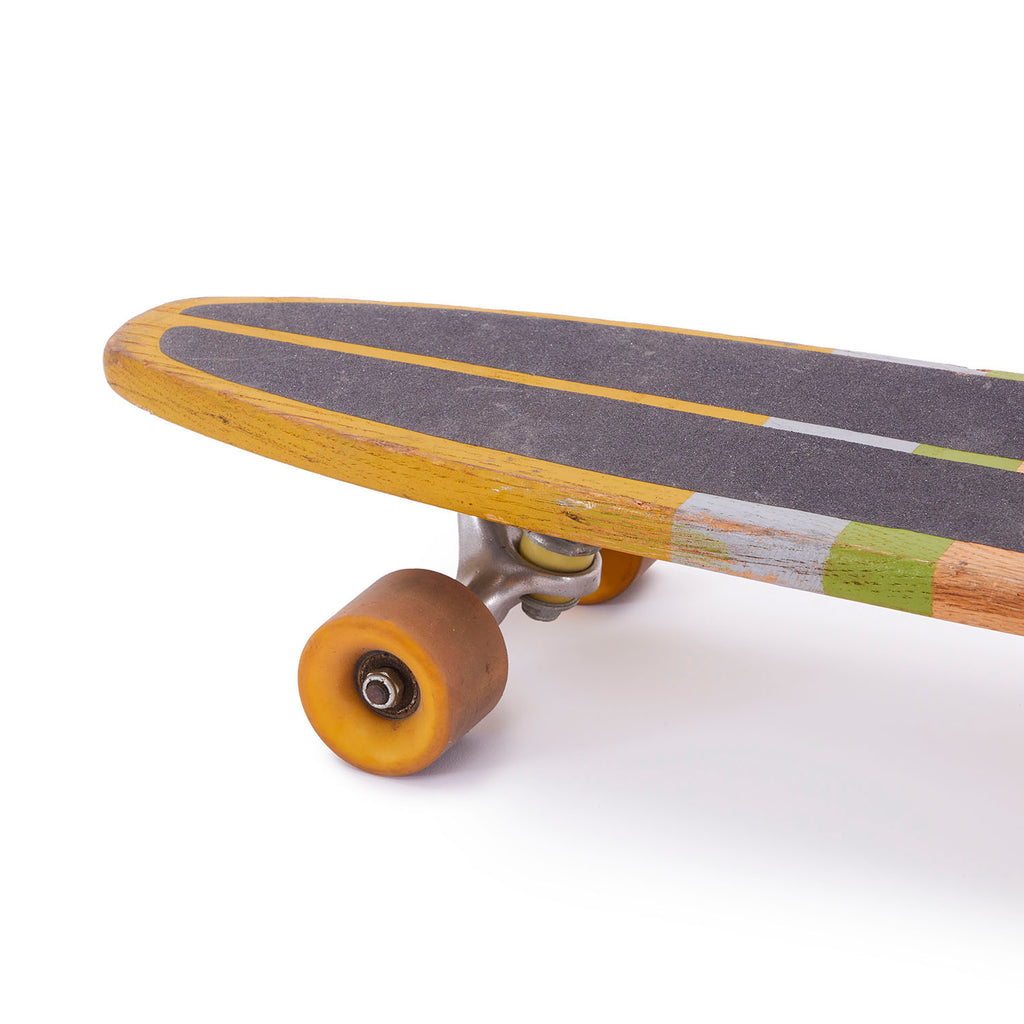 Natural Wood + Lime Stripe 70's Skateboard