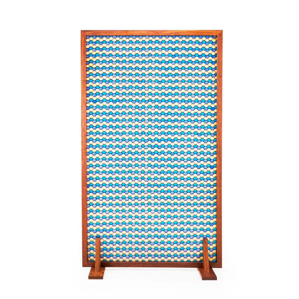 Blue and White Pattern Room Divider