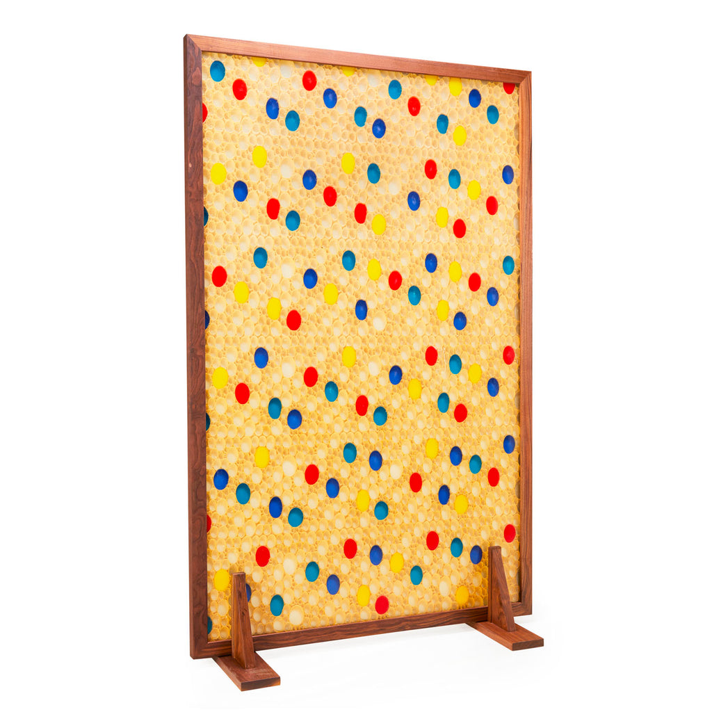 Blue and Red Dot Room Divider