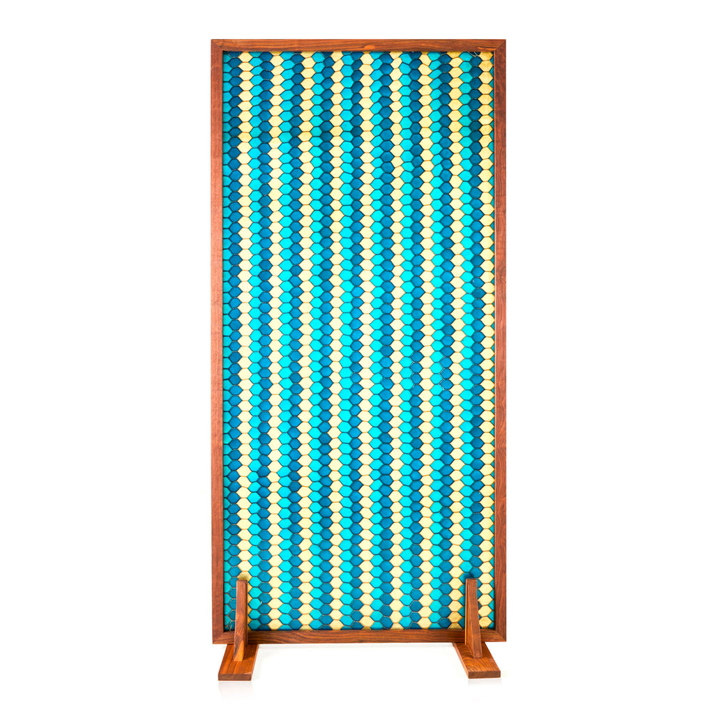 Turquoise Blue Pattern Resin Room Divider
