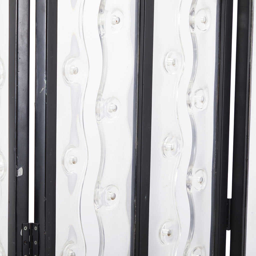 Three-Panel Glass and Metal Screen Divider