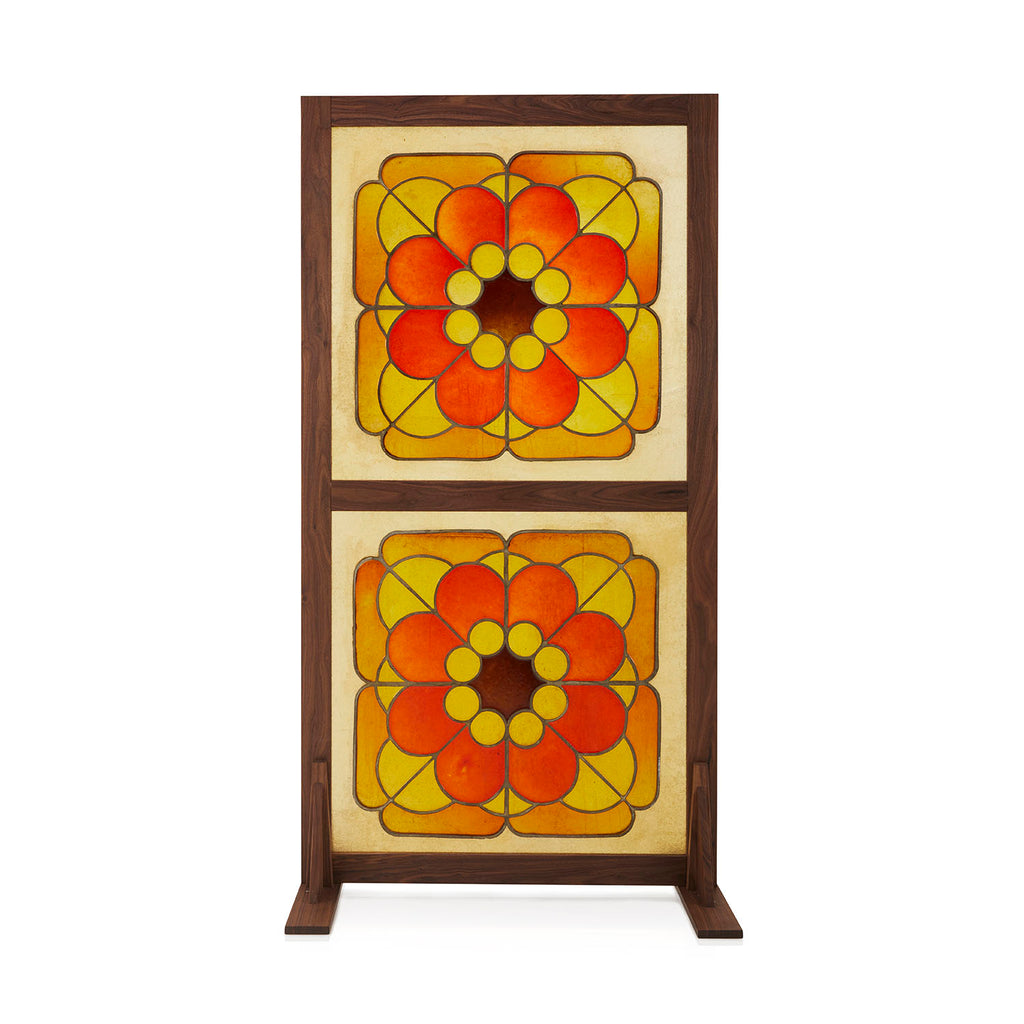 Orange and Yellow Stained Glass Room Divider