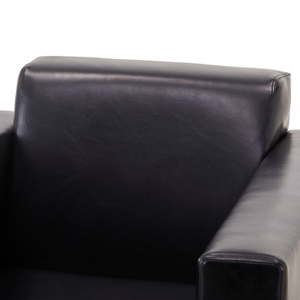 Angled Black Leather Armchair with Chrome Legs