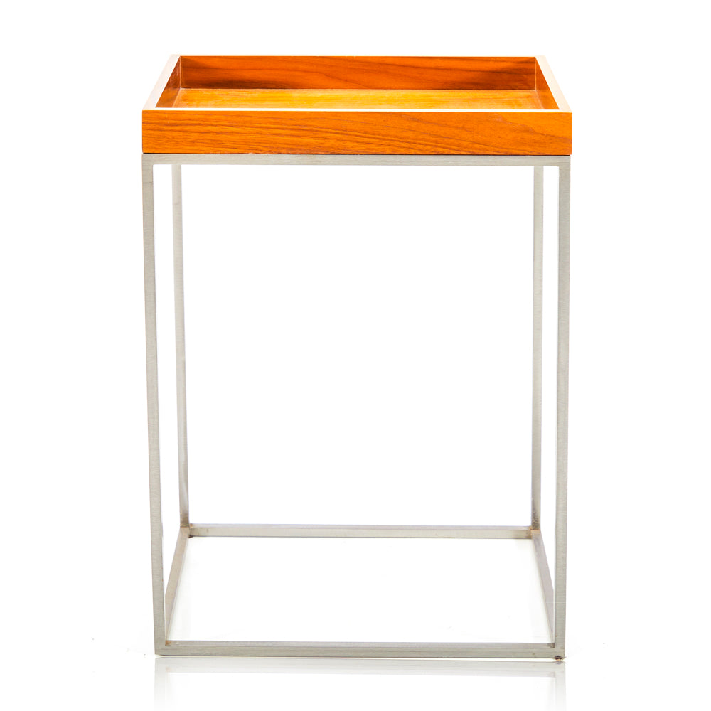 Wood Tray Side Table - Tall