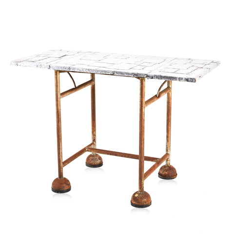 Brutalist Metal Table with Brass Legs