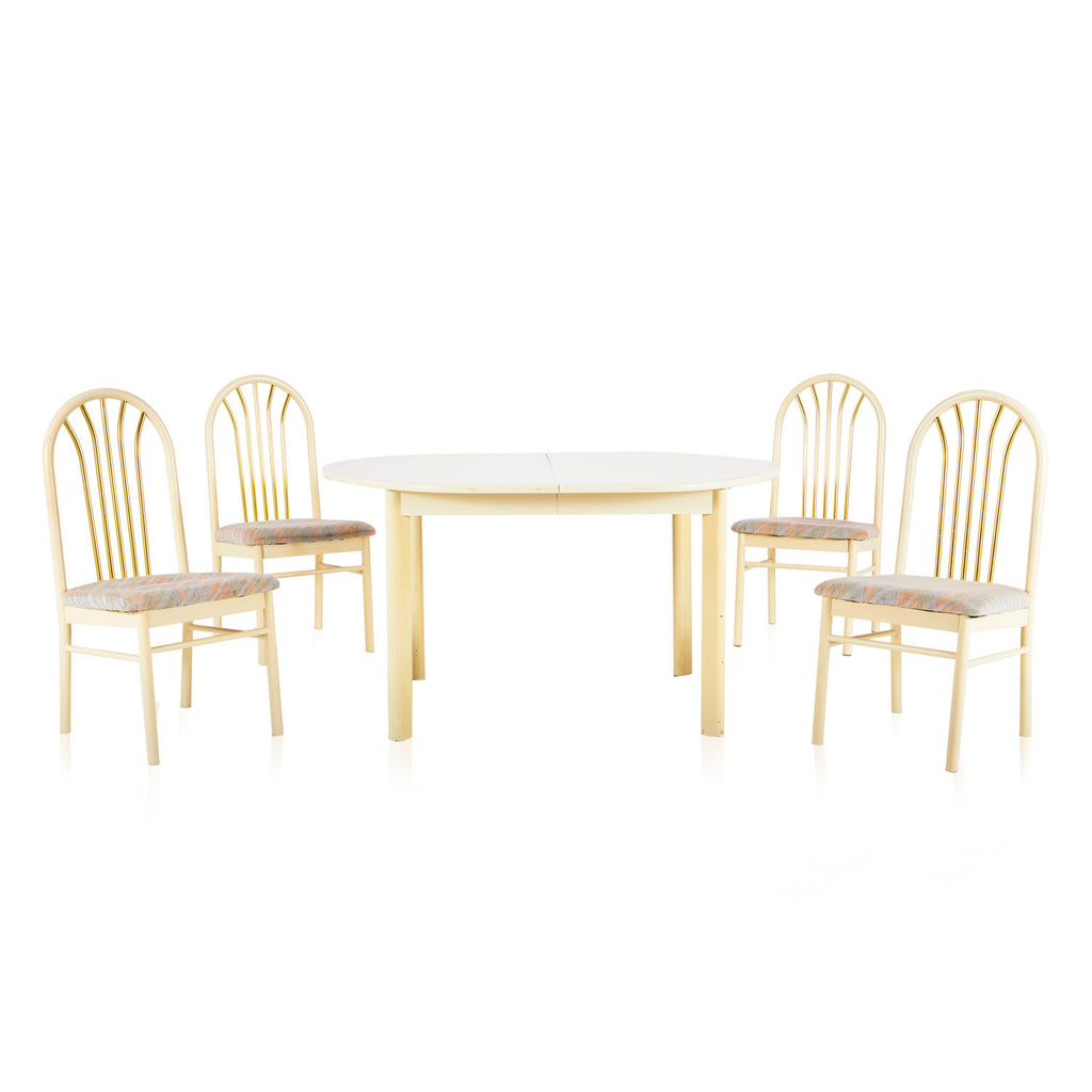 Off-White Lacquer Oval Dining Table