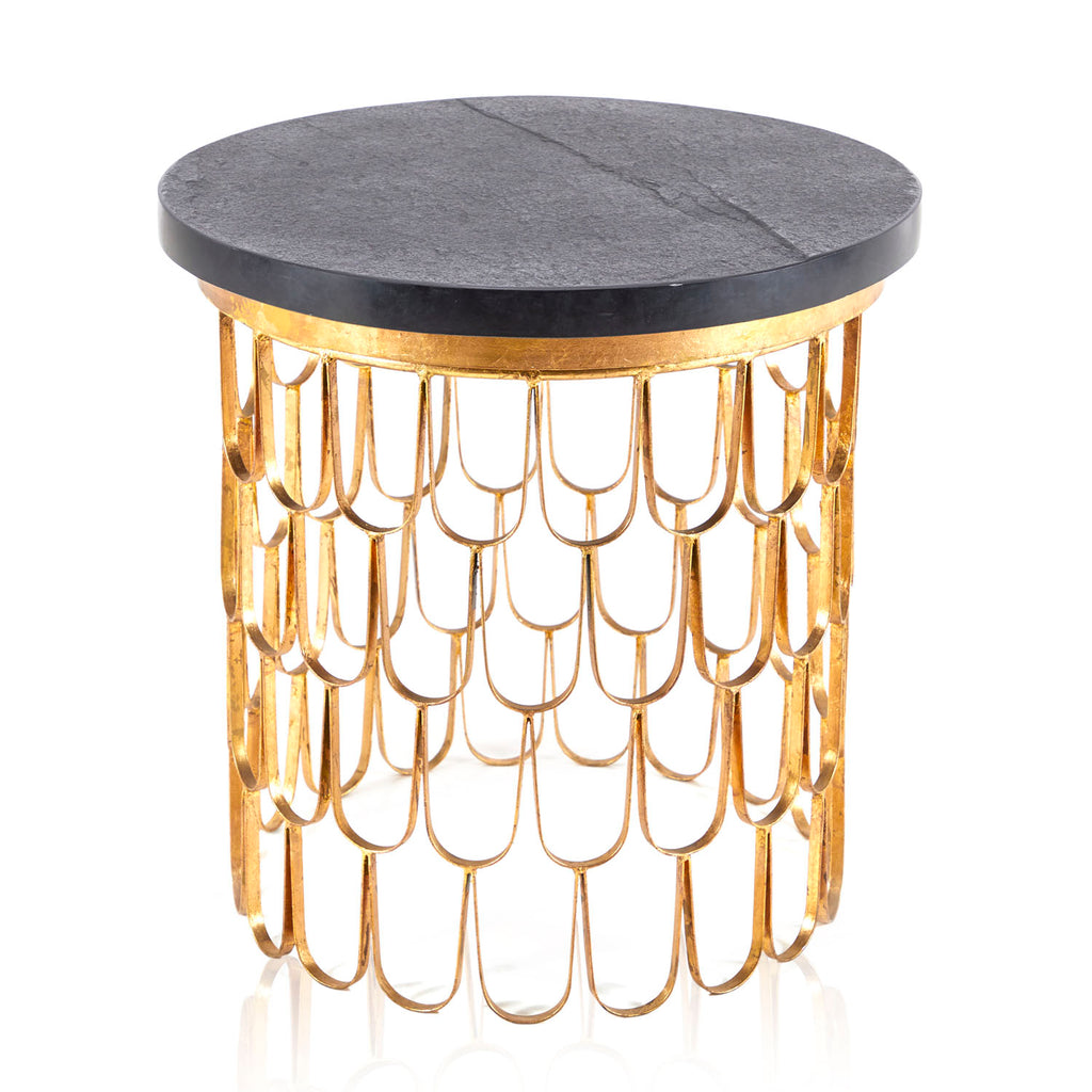 Black Stone and Gold Scales Side Table