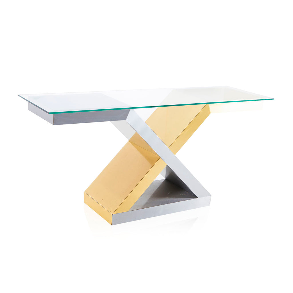 Gold and Silver X Console Table