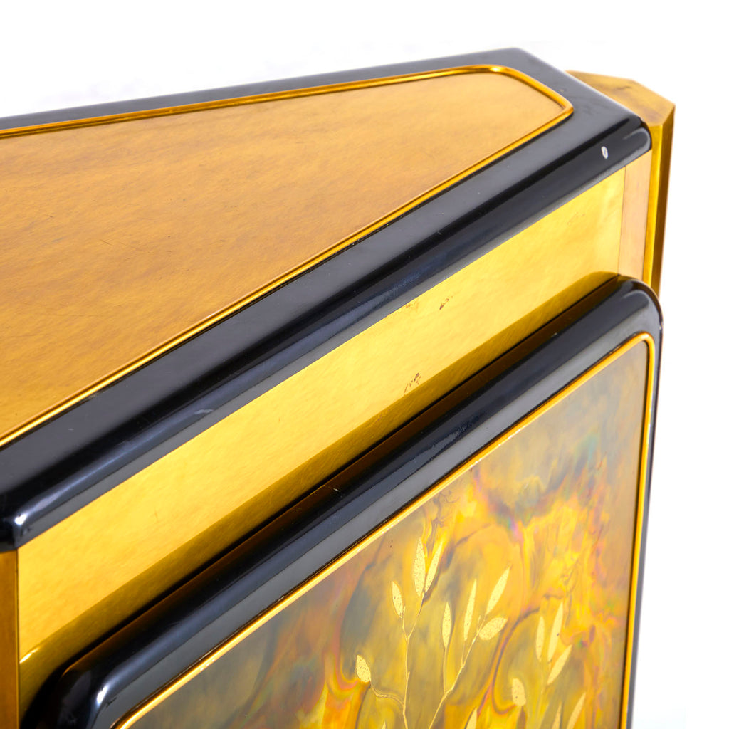 Marbled Gold and Black Console Credenza