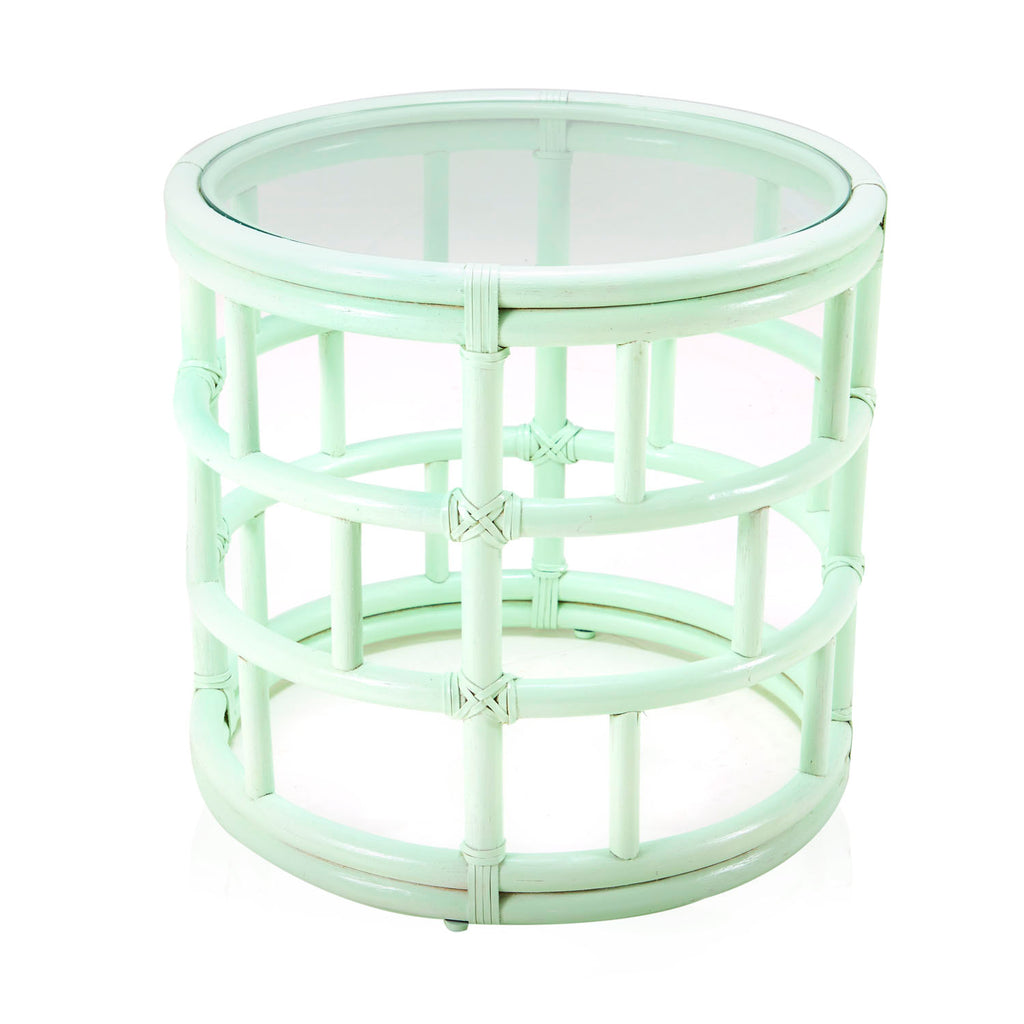 Mint Green Bamboo Side Table