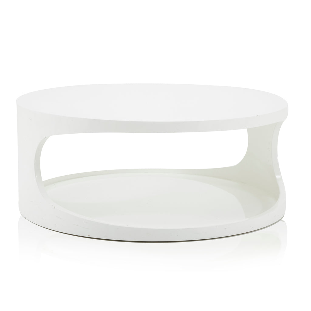 Round White Mod Coffee Table