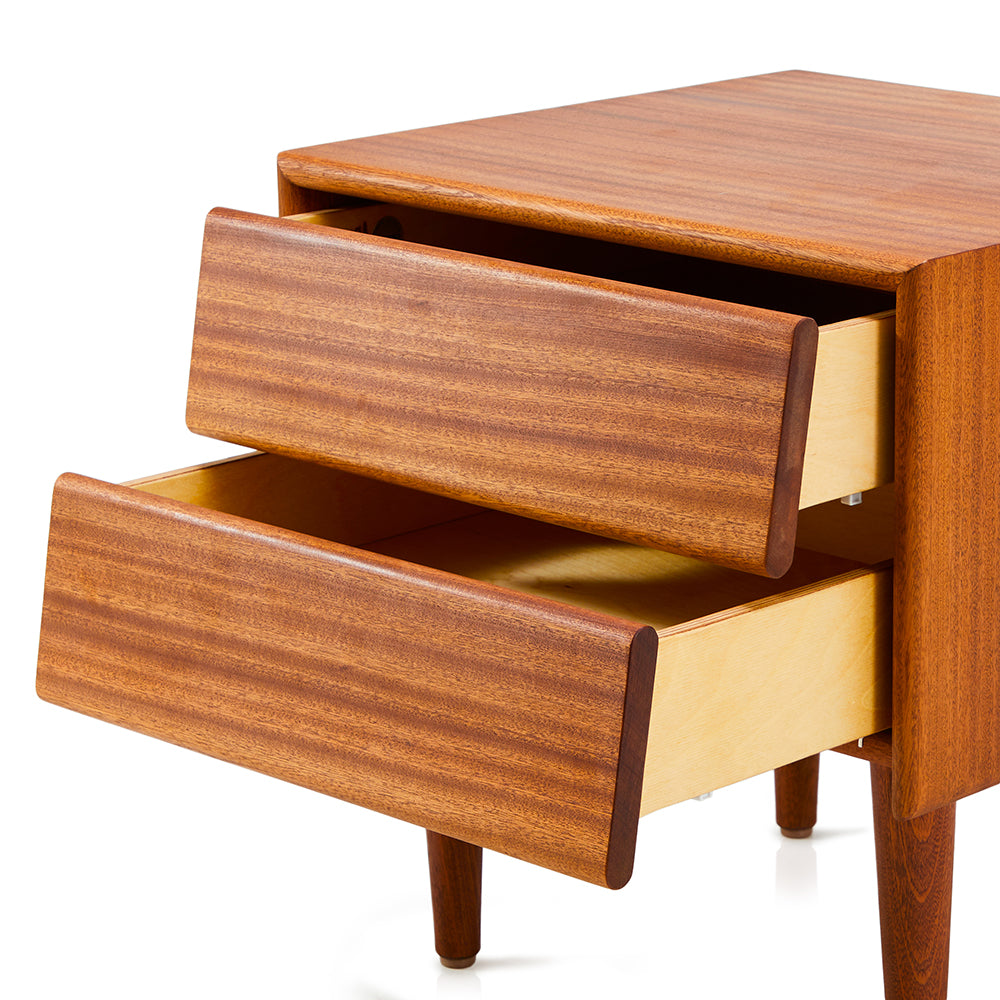Case Study Two Drawer Bedside Table - Mahogany