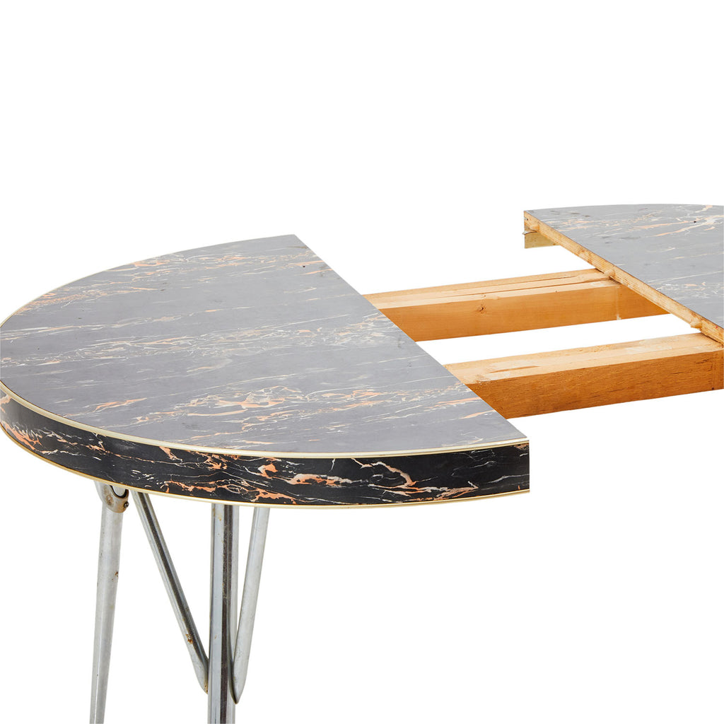 Marbled Black Oval Kitchen Table
