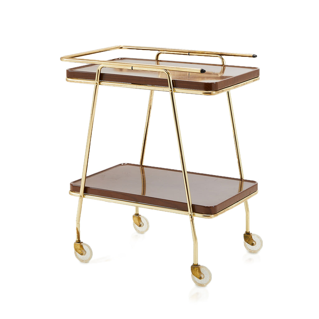 Brown and Brass Rolling Bar Cart