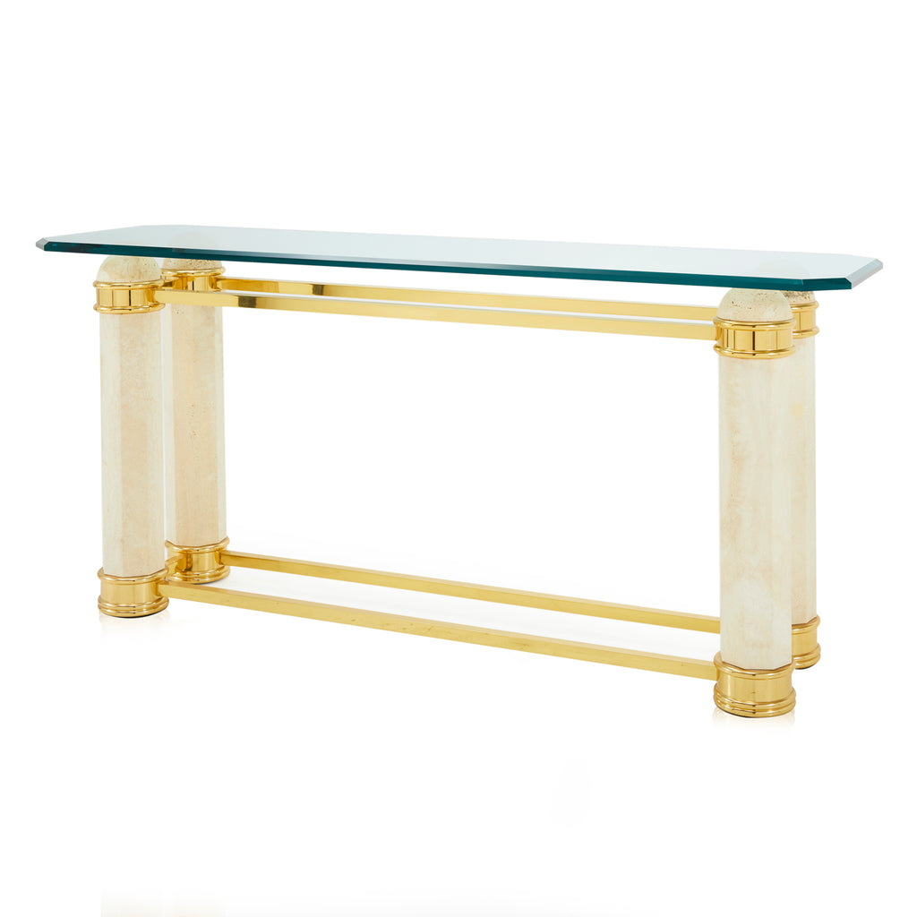 White Stone and Gold Console Table