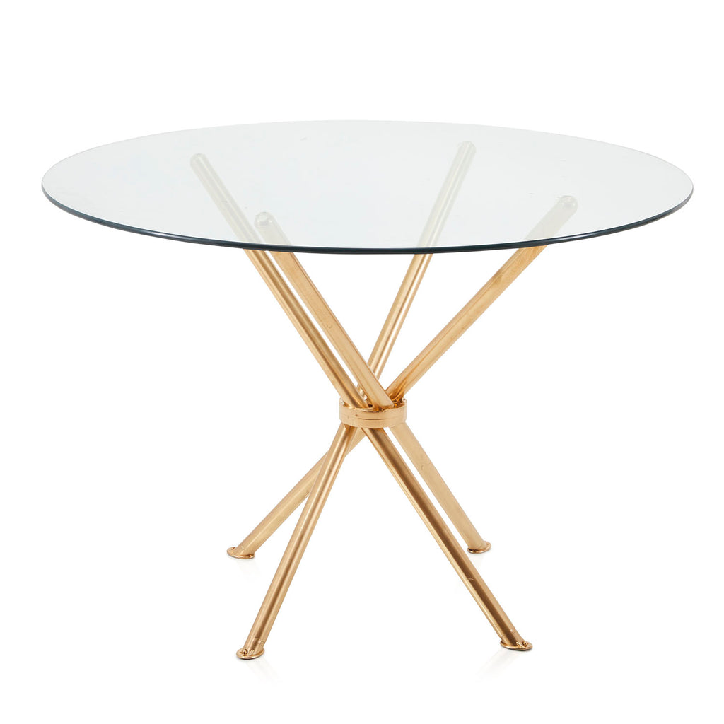 Gold Rods Round Glass Kitchen Table